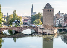 Ponts Couverts in Strasbourg. View from the Barrage Vauban with the medieval bridge Ponts Couverts, three bridges and four towers on the River Ill Strasbourg in Royalty Free Stock Images