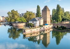 Ponts Couverts in Strasbourg. View from the Barrage Vauban with the medieval bridge Ponts Couverts, three bridges and four towers on the River Ill Strasbourg in Stock Images