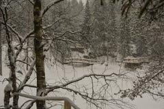 Ponts découpés au-dessus de la rivière congelée images libres de droits