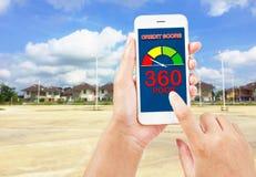 Pontuação de crédito para bens imobiliários da compra imagens de stock
