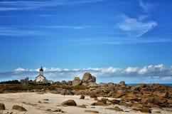 Pontusval, Bretagne, der kleine Leuchtturm Lizenzfreie Stockbilder