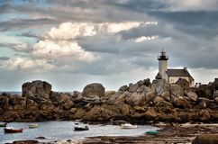 Pontusval, Brittany, the little lighthouse Stock Image