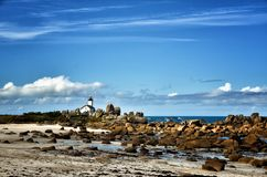 Pontusval, Brittany, the little lighthouse Stock Photo