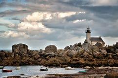 Pontusval, Brittany mała latarnia morska Obraz Stock