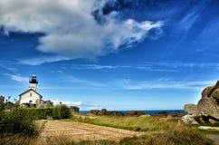 Pontusval, Brittany mała latarnia morska Obraz Royalty Free