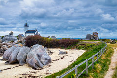 Pontusval lighthouse (Phare de Pontusval) at Brignogan-Plages, F Royalty Free Stock Image