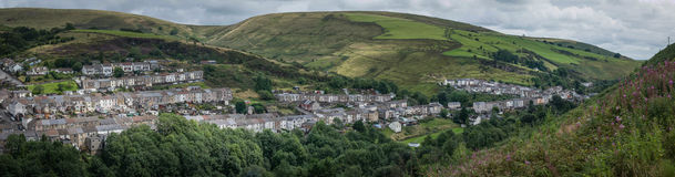Pontycymer and Pantygog. Panorama of the villages of Pontycymer and Pantygog in the Garw valley, Bridgend, Wales Stock Photography