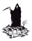 Ponura żniwiarka śmierć w Halloweenowym cmentarzu Obrazy Royalty Free