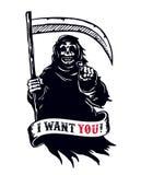 Ponura żniwiarka z kosą, śmiertelny wskazuje palec Chcę ciebie nieboszczyk! Fotografia Royalty Free
