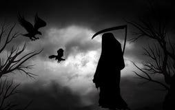 Ponurej żniwiarki Halloweenowy straszny tło royalty ilustracja