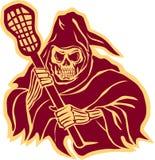 Ponurej żniwiarki Lacrosse Obrończy słup Retro ilustracja wektor