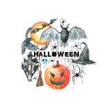 ponurej Halloween ilustracyjnej żniwiarki ustalony guślarki wampira wektor Zdjęcie Royalty Free