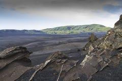 Ponury, niewygładzony, lawa krajobraz, Iceland zdjęcia stock