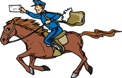 Pony Express. Postman delivery mail on the Pony Express vector illustration