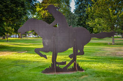 Pony Express. Sculpture of horse and rider at Pony Express Station in Gothenburg, Nebraska stock images