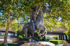 Pony Express Statue. Statue commemorating the mail service delivering messages, newspapers, and mail via pony express between the Atlantic and Pacific coasts. It royalty free stock photo