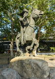 Pony Express Statue. In Old Sacramento State Historic Park stock images