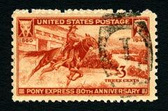 Pony Express USA portostämpel Arkivbilder