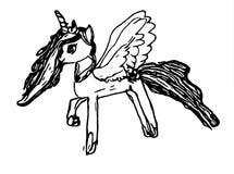 Pony mit Flügeln stockbild
