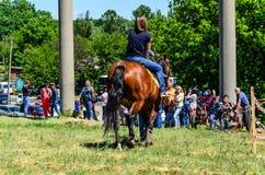Pony riding on peasant fair stock photos