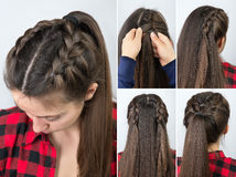 Pony tail with braid hairstyle tutorial royalty free stock image
