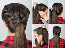 Pony tail hairstyle tutorial royalty free stock image