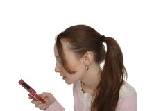 Pony tail mobile user Stock Image