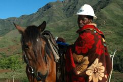 Pony Trekking guide. Horse transport  is common in the rural areas of Southern Africa Stock Image