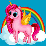 Pony Unicorn with Golden Wings Stock Images