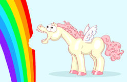 Pony with wings and a rainbow Royalty Free Stock Photo