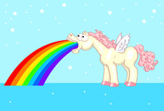 Pony with wings and a rainbow Royalty Free Stock Photos
