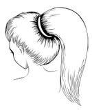 Длинный ponytail - линия искусство Стоковое фото RF