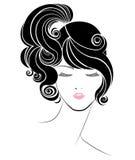 Ponytail hair style icon, logo women face on white background Stock Image