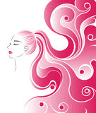 Ponytail hair style icon, logo women face on white background Royalty Free Stock Photo