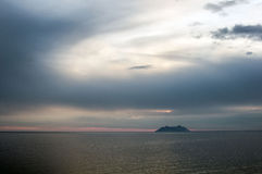 Ponza island silhouette in Italy Stock Photography
