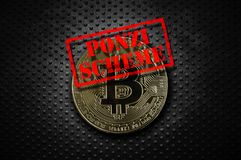 Ponzi Scheme gold bitcoin. Gold bitcoin with Ponzi Scheme stamp, on grunge rivet metal background Stock Images