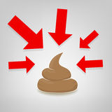 Poo illustration with red arrows pointing at it, vector Stock Image