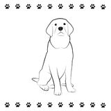 Pooch Drawing. Line drawing of sitting dog Royalty Free Stock Images