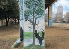 Free Pooch-themed Art In Bark Park Central, Deep Ellum, Texas Stock Photography - 110648352