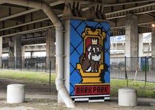 Pooch-themed konst i skäll parkerar centralen, djupa Ellum, Texas Royaltyfria Bilder