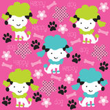Poodle dog with bone and flower pattern  illustrat Stock Photo
