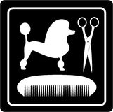 Poodle dog, scissors and comb black icon Royalty Free Stock Photos