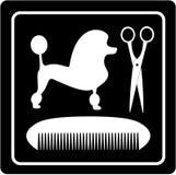 Poodle dog, scissors and comb black icon. Grooming symbol with poodle dog, scissors and comb vector illustration