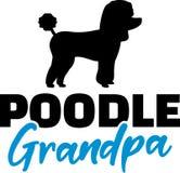 Poodle Grandpa blue. Poodle Grandpa silhouette blue word stock illustration