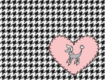 Poodle Heart and Houndstooth Illustration Royalty Free Stock Photography