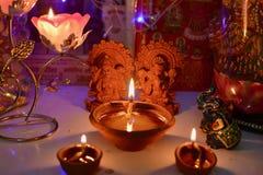 Pooja de Lakshmi Ganesha no festival de Diwali Imagens de Stock Royalty Free