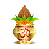 Pooja kalash. With om symbol Royalty Free Stock Images
