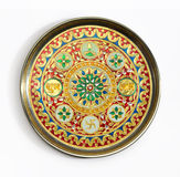 Pooja plate. An isolated Indian plate with intricate relagious design Royalty Free Stock Photo