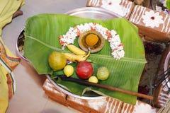 Pooja Praying Tray Hindoese Tamil Traditionele Huwelijksrituelen stock fotografie