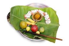 Pooja Praying Tray Hindoese Tamil Traditionele Huwelijksrituelen royalty-vrije stock foto